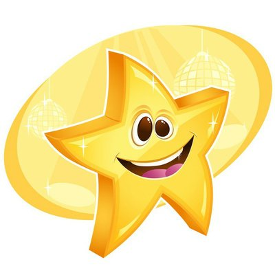 Shiny happy star smiling with disco balls on background. Eps10