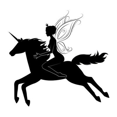 Silhouette of a beautiful fairy riding on magical unicorn.