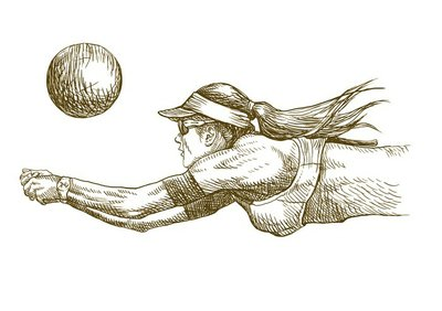 situations in volleyball, hand drawing converted to vector