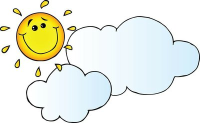 Smiling Sun Behind Cloud Cartoon Character