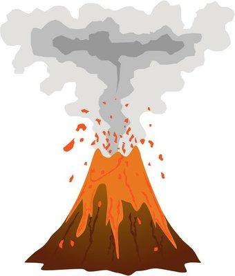 Smoking, erupting volcano icon isolated on white