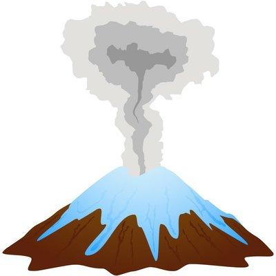 Smoking volcano mountain top.