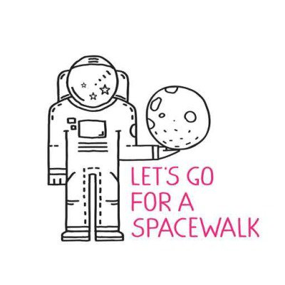 Spacewalk Astronaut Line Art Romantic Illustration with