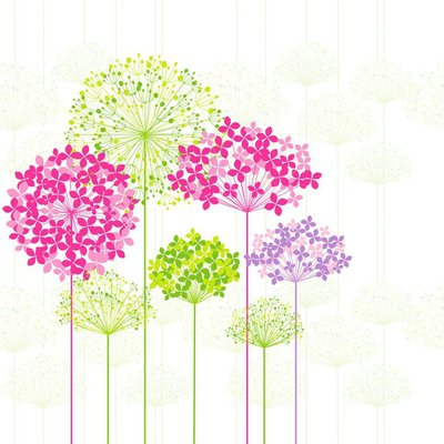 Wall Decal Springtime Colorful Flower on Dandelion Background