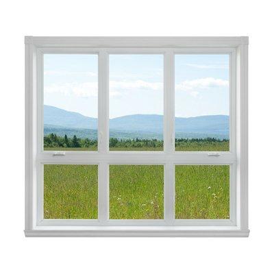 Summer landscape seen through the window