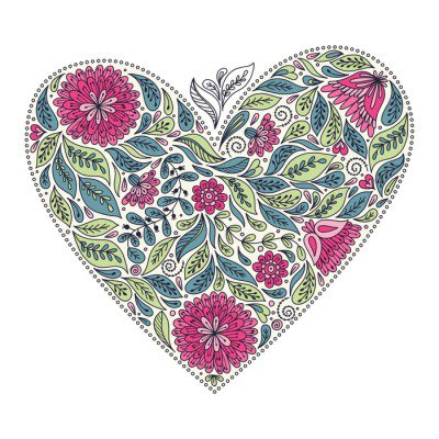Template greeting cards and invitations with a heart. Flowers