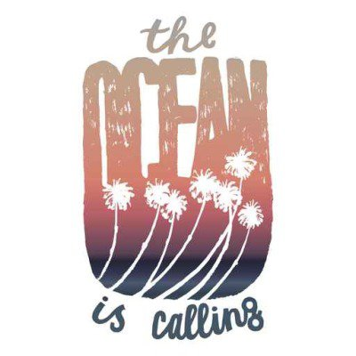 the ocean is calling sunrise gradient palm lettering print. surfing print. travel print.