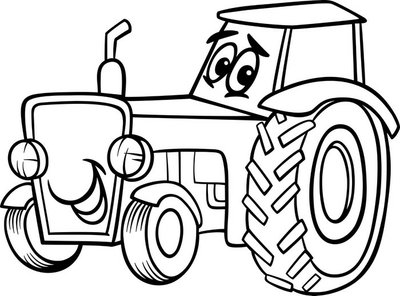 tractor cartoon for coloring book