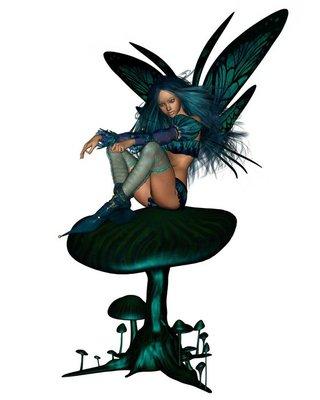 Turquoise Fairy Sitting on a Toadstool