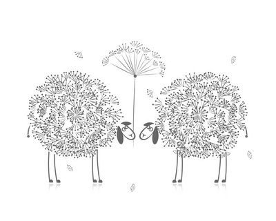Wall Decal Two funny sheeps, sketch for your design