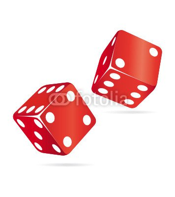Two red rolling dices.