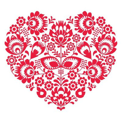 Valentines Day folk art red heart - Polish pattern