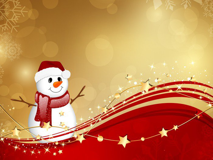 Vector Christmas Background with a Small Snowman