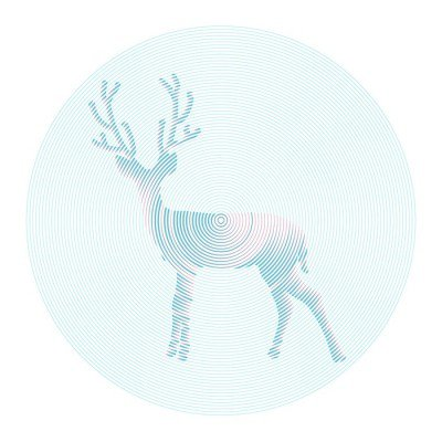 Wall Decal Vector deer with horns - abstract illustration