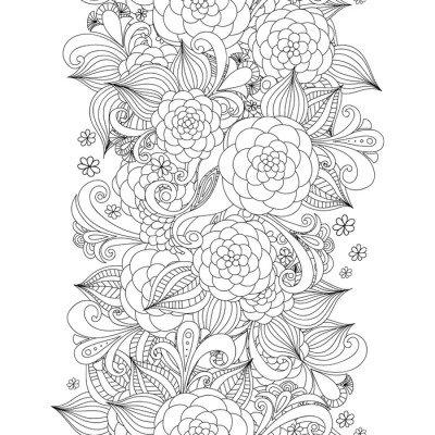 Vector doodle flowers seamless border. Zentangle decorative element.