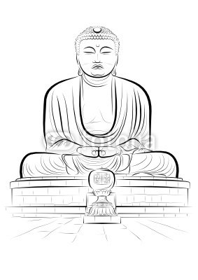 Vector drawing color giant Buddha monument in Kamakura, Japan