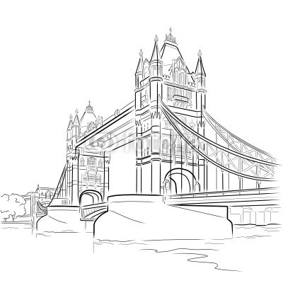 Vector drawing of Tower bridge, London, UK