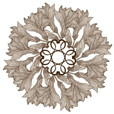 Vector hand drawn abstract retro flowers round vignette