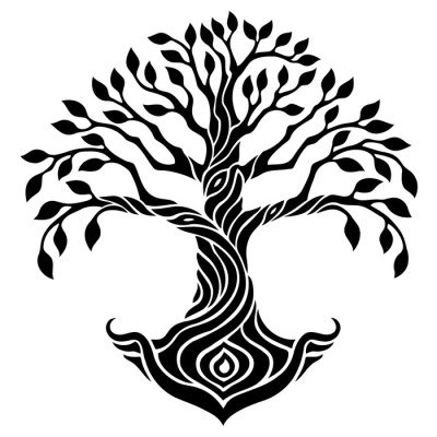 Vector illustration, decorative tree of life, black and white graphics