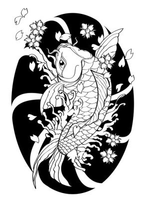 vector  illustration graphic background Koi fish Tattoo Japanese style lined pattern