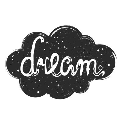 Vector illustration with black cloud, stars and lettering