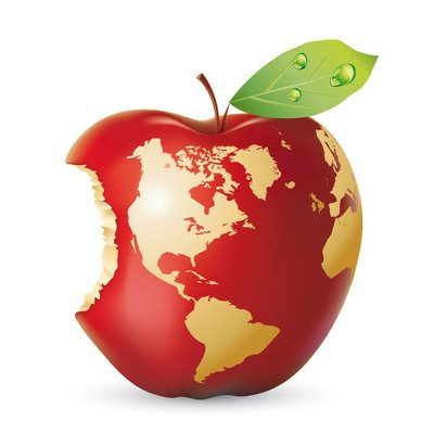 Vector red apple earth