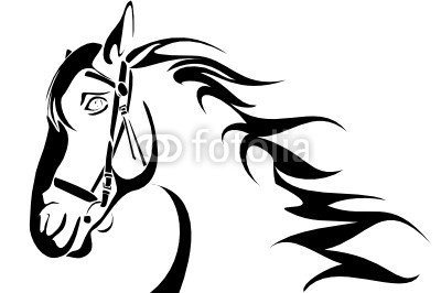 Vector series. horse head design black-white version