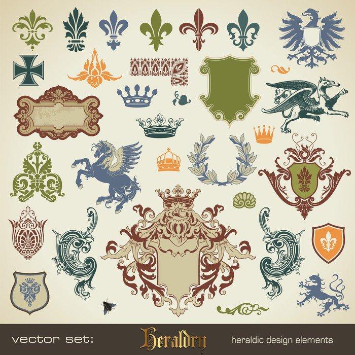 vector set: heraldry - large variety of design elements