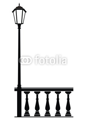 Vector street lantern in the old style and balustrade