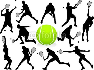 Vector Tennis Players Silhouettes