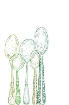 Vintage cutlery elements hand drawn set.