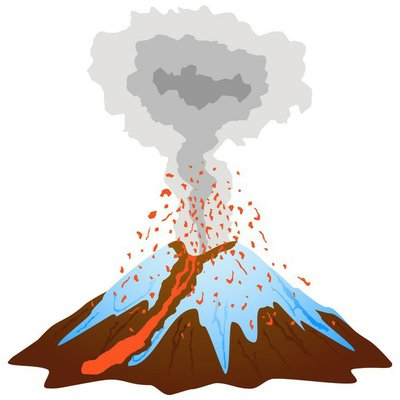 Volcano mountain eruption with lava flow and snow