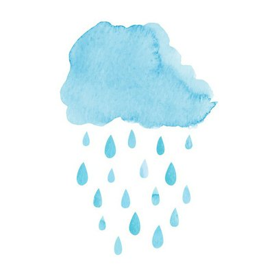 Watercolor rainy cloud