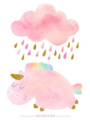 Watercolor unicorn and cloud with rain