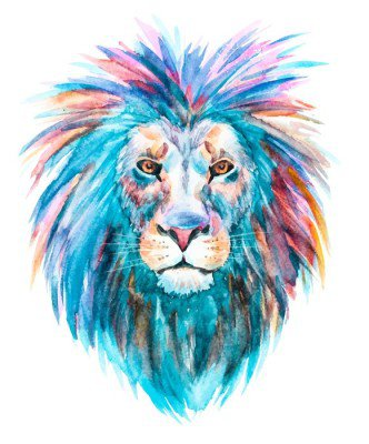 Wall Decal Watercolor vector lion