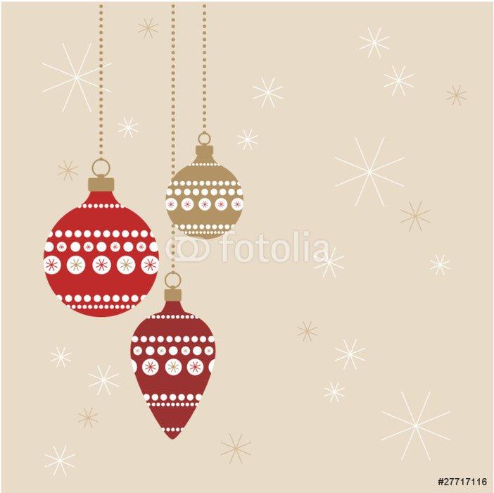 Weihnachtskugeln rot+gold auf Fond