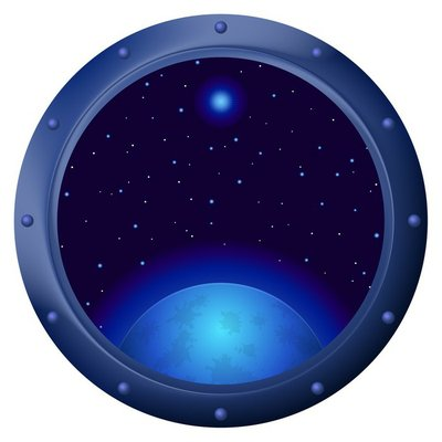 Window with blue planet