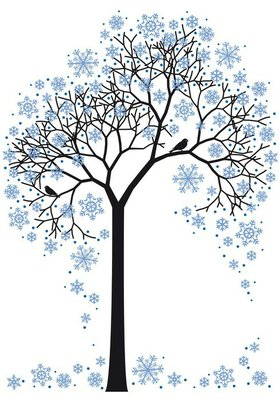 winter tree with snowflakes, vector
