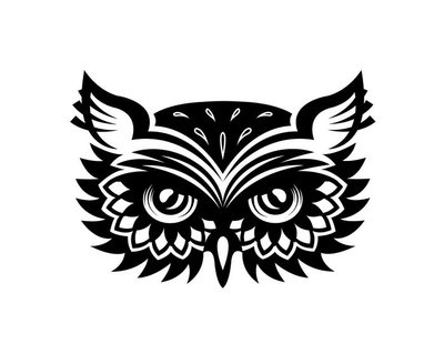 Wise old horned owl head