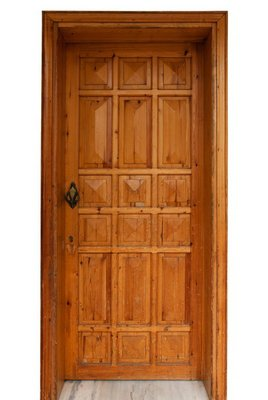 Wooden panel door isolated on white background