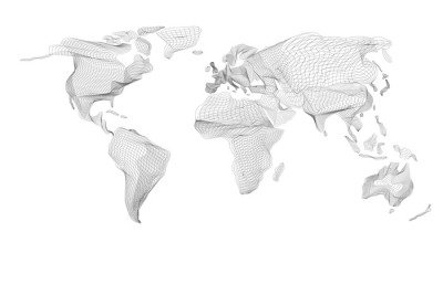 World map. Abstract vintage computer graphic of black lines