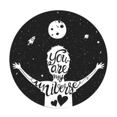 Young man silhouette, lettering text - you are my universe. Romantic inspiration quote with rocket, moon and stars
