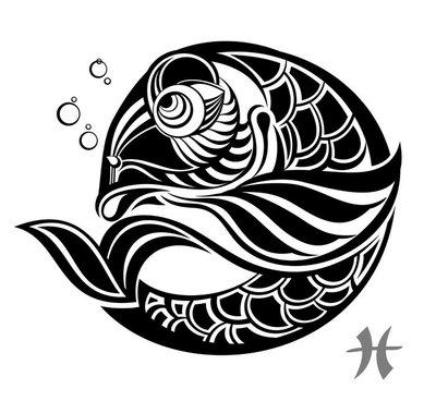 Zodiac signs - Pisces. Tattoo design