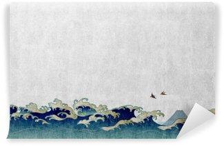 和風背景素材 大波と渡り鳥