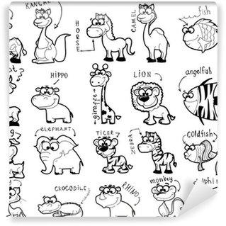 Большой набор мультфильм черно-белых животных Wall Mural - Vinyl