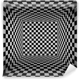 Wall Mural - Vinyl 3d cube checkered room
