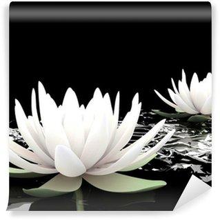 3d lotus on water Wall Mural - Vinyl