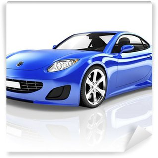 Wall Mural - Vinyl 3D Luxury Blue Sports Car