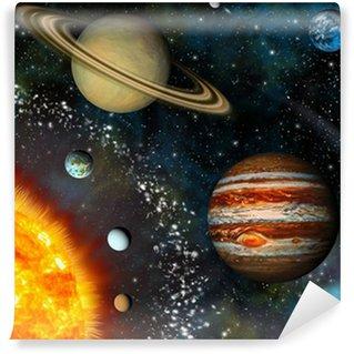 3D Solar System Wall Mural - Vinyl