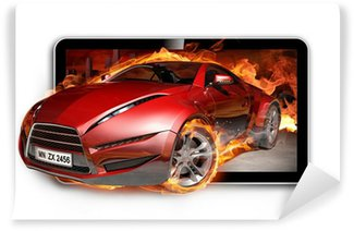 Wall Mural - Vinyl 3D TV. Burning car on TV screen.